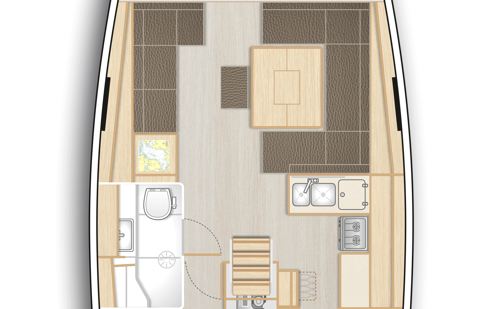B1: Saloon with L-galley and dining area on stb, lounge area with chart table and head with separate shower on port