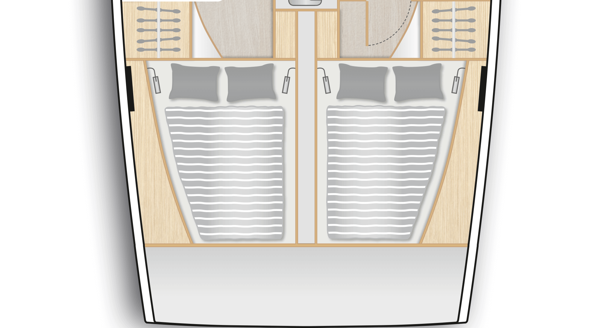 C2: 2 aft cabins with double berth and storage space