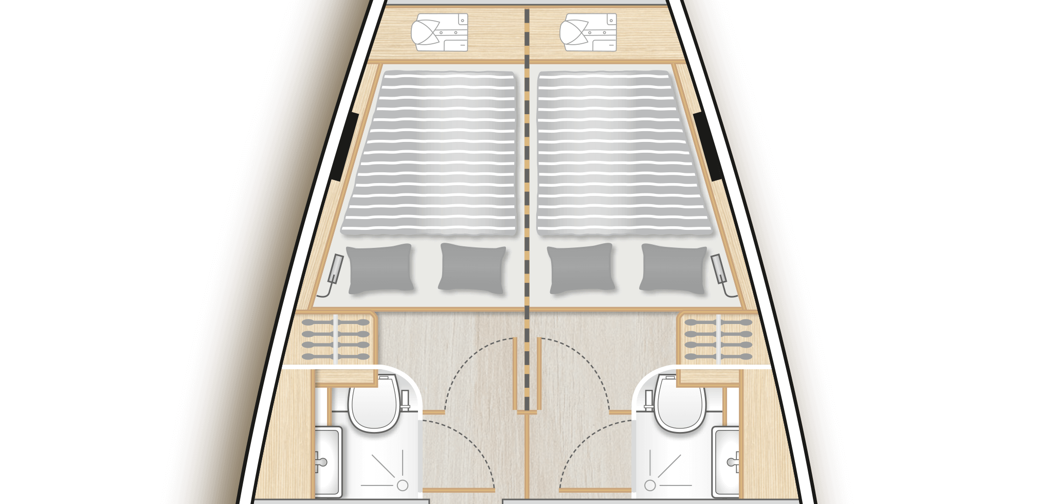 B3: 2 fwd cabins with double berth, storage space and separate head - convertible by a removable bulkhead into a  single cabin