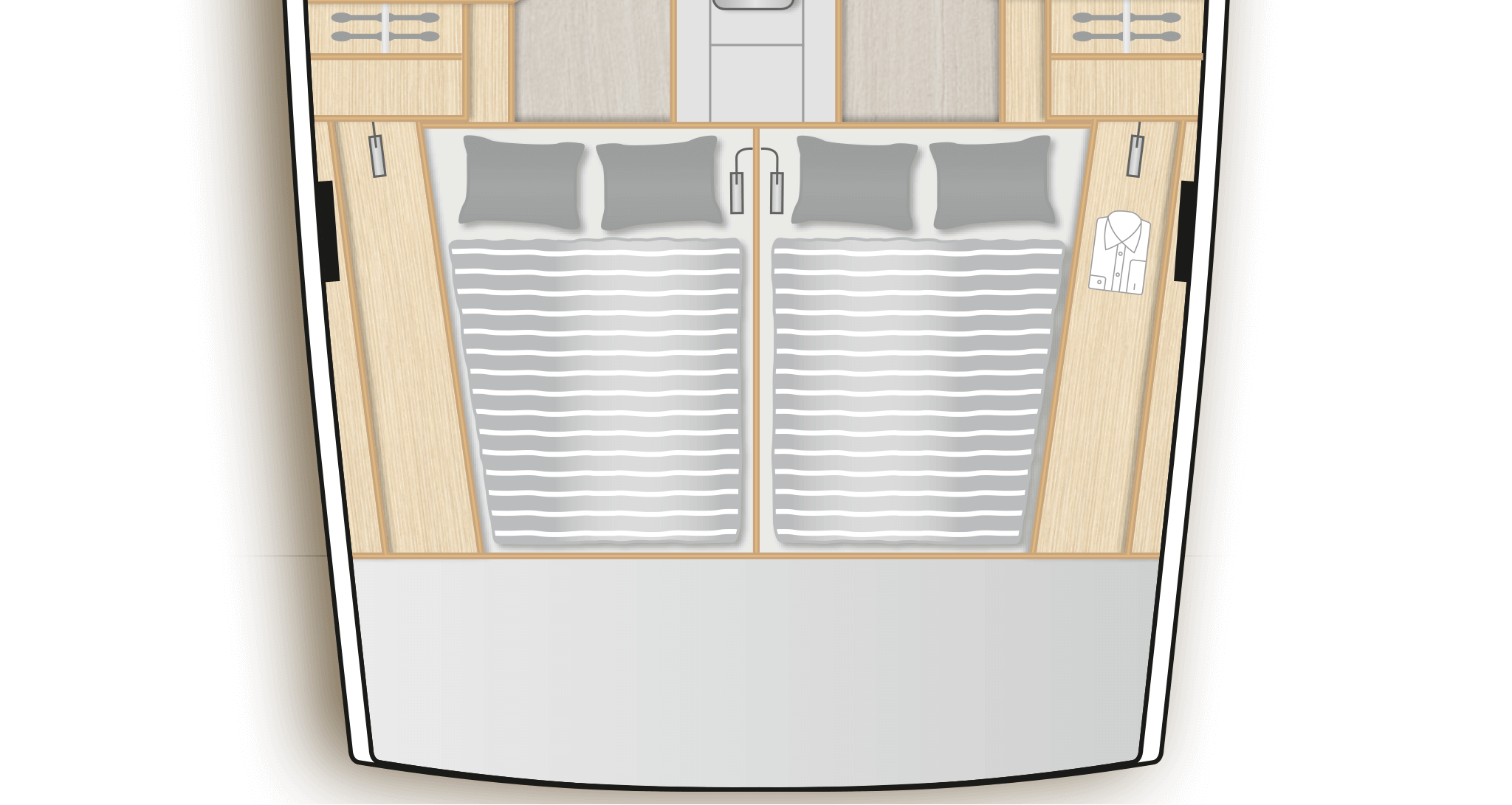 E2: 2 aft cabins with double berth, storage space and separate head