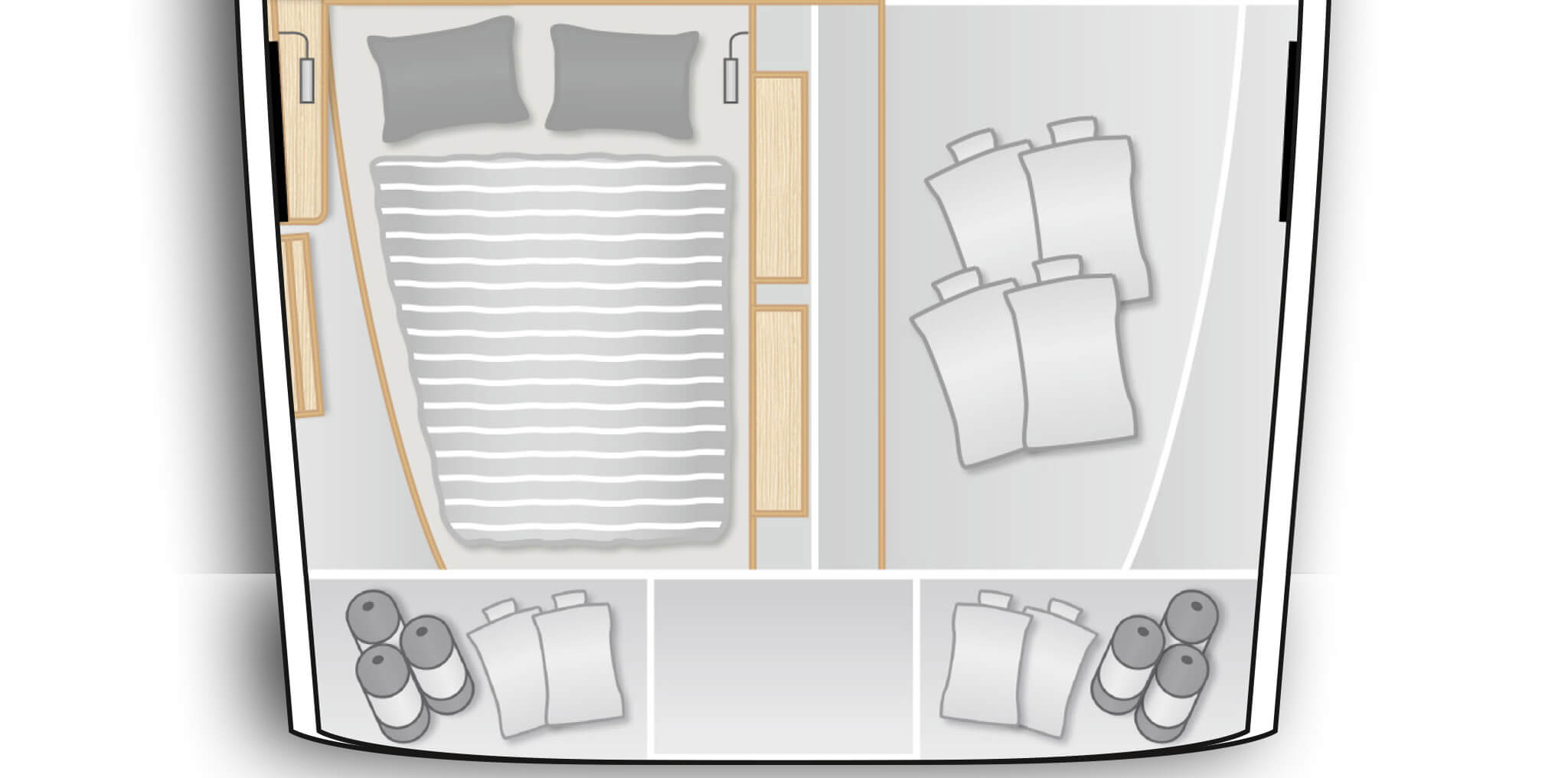 C3: Aft cabin with double berth and storage space on port, utility room and separate shower stall on stb (only with XL2002)