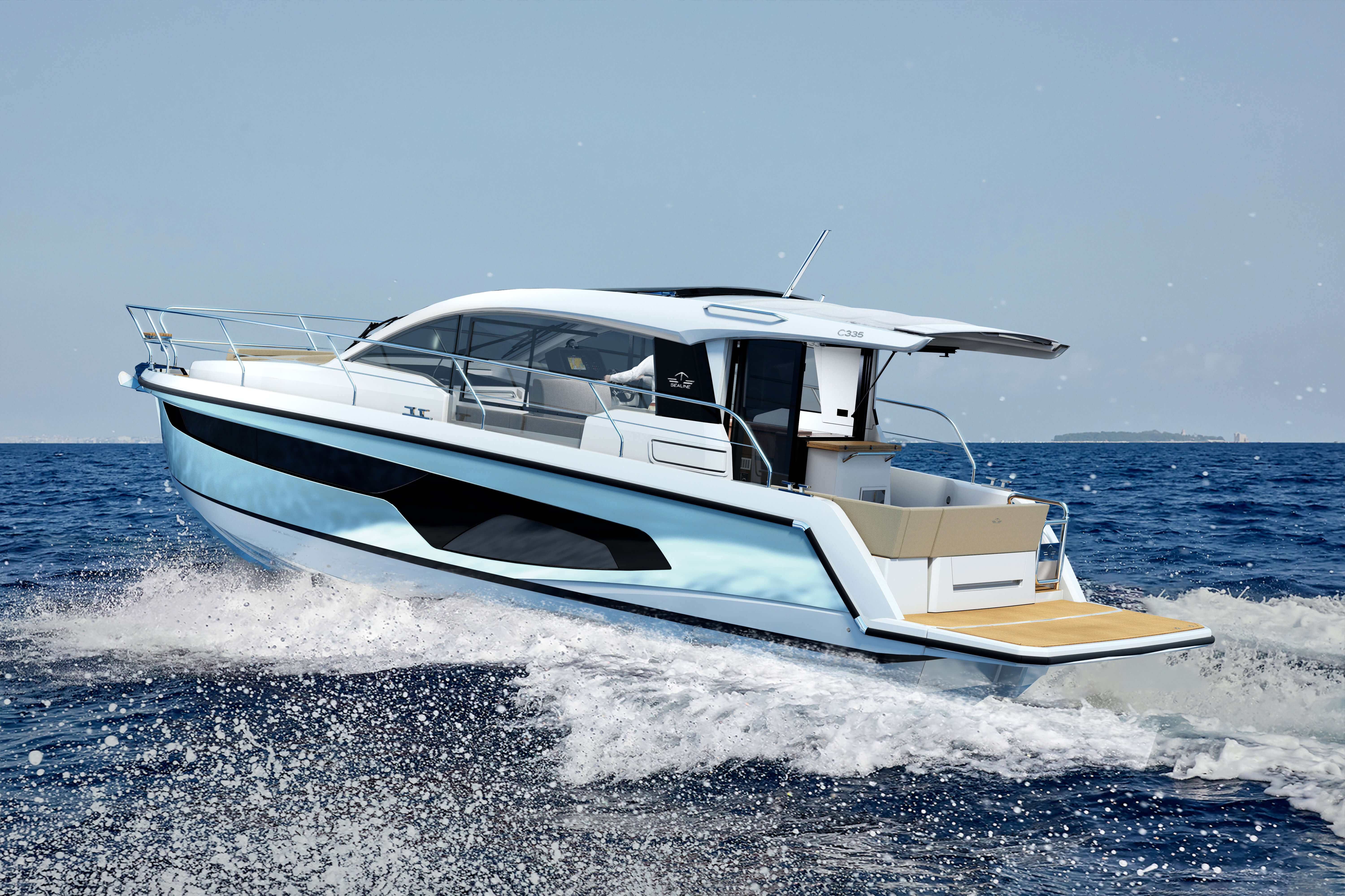 Sealine C335 exterior | The voluminous superstructure promises a joyful cruise on every seamile travelled. | Sealine