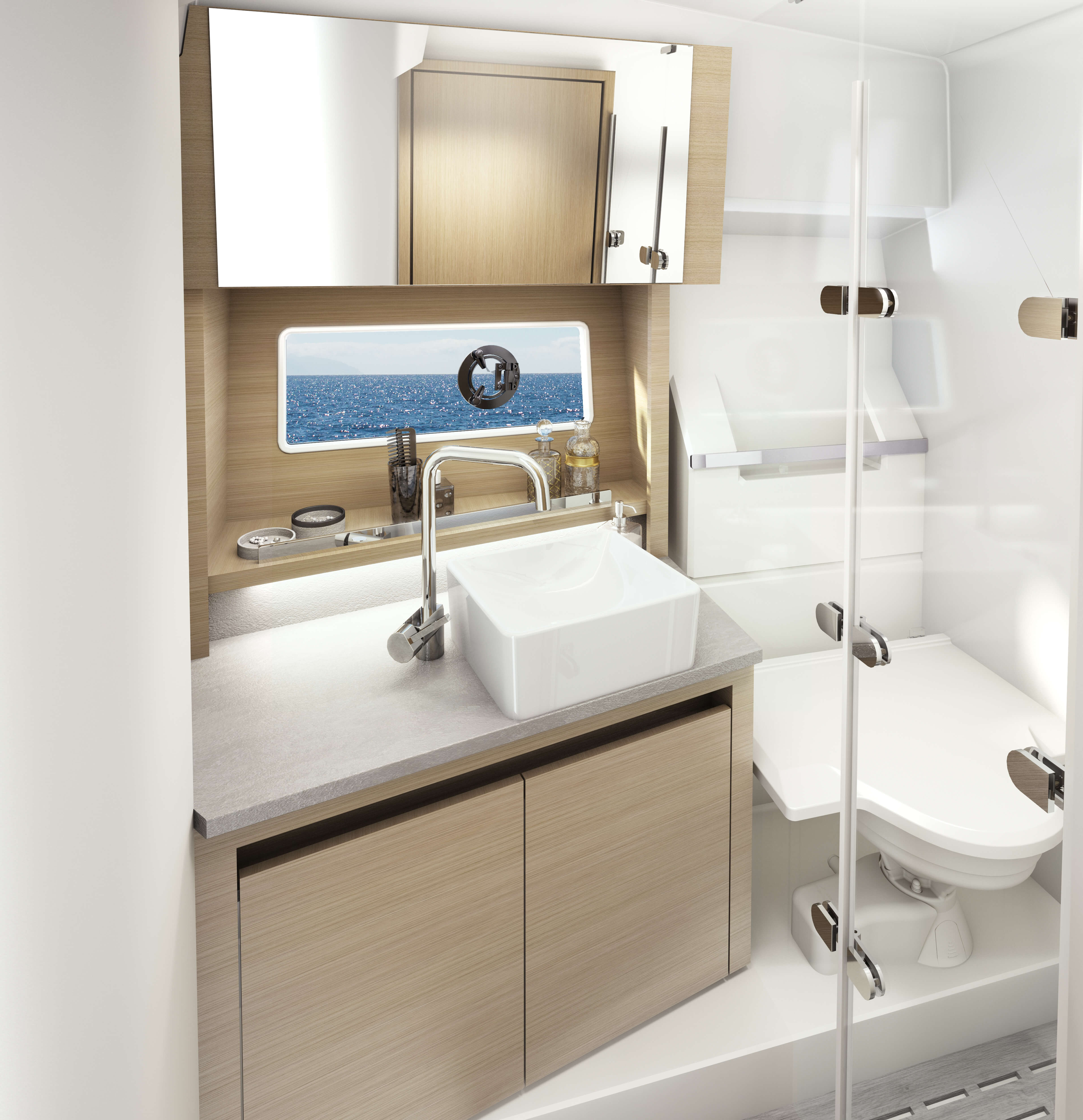 Sealine C335 bathroom | A place of well-being - inspired by the aestetics of a modern spa resort. | Sealine