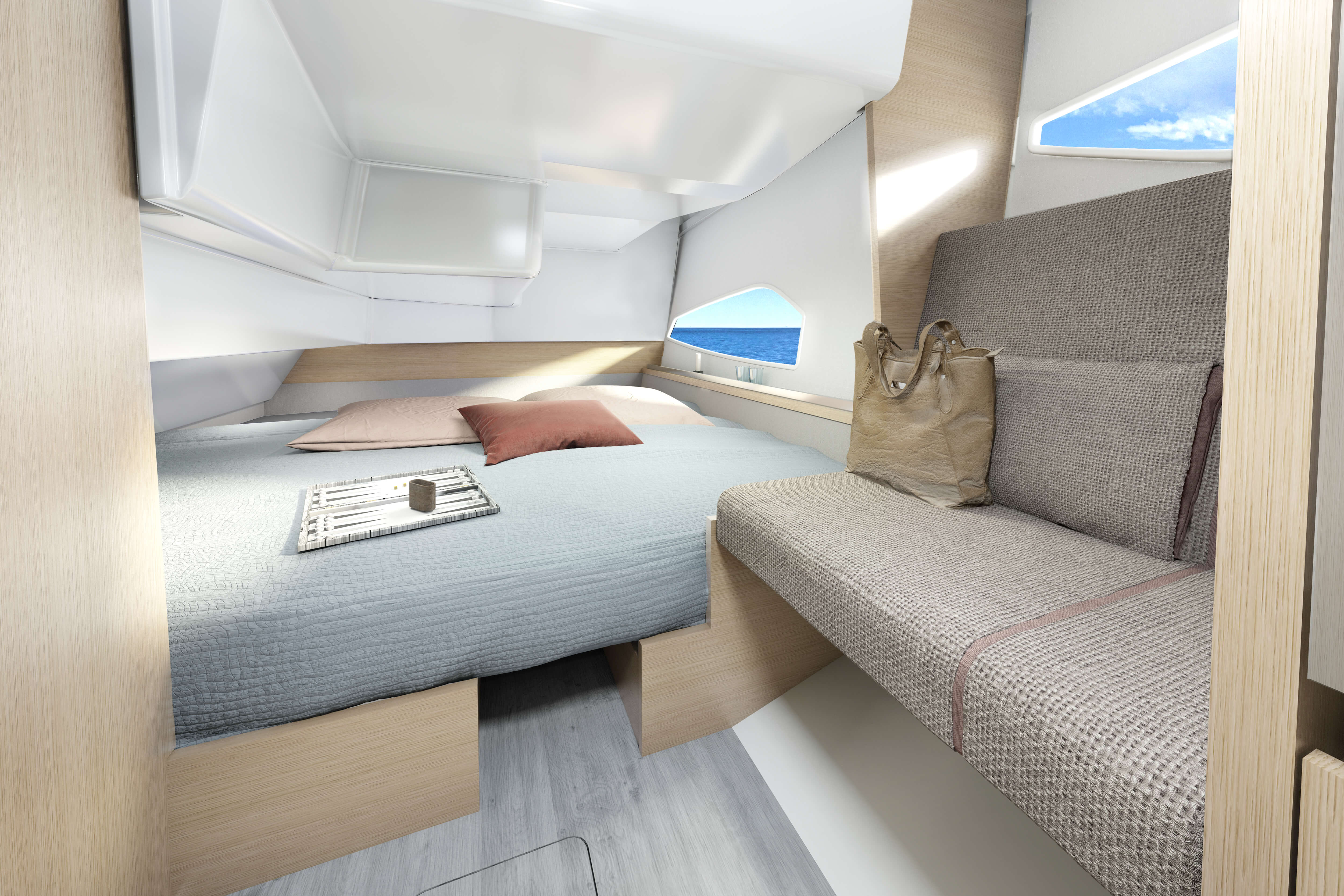 Sealine C335 guest cabin | All interiors can be configurated with various furniture woods and colours to reflect your personal style. | Sealine