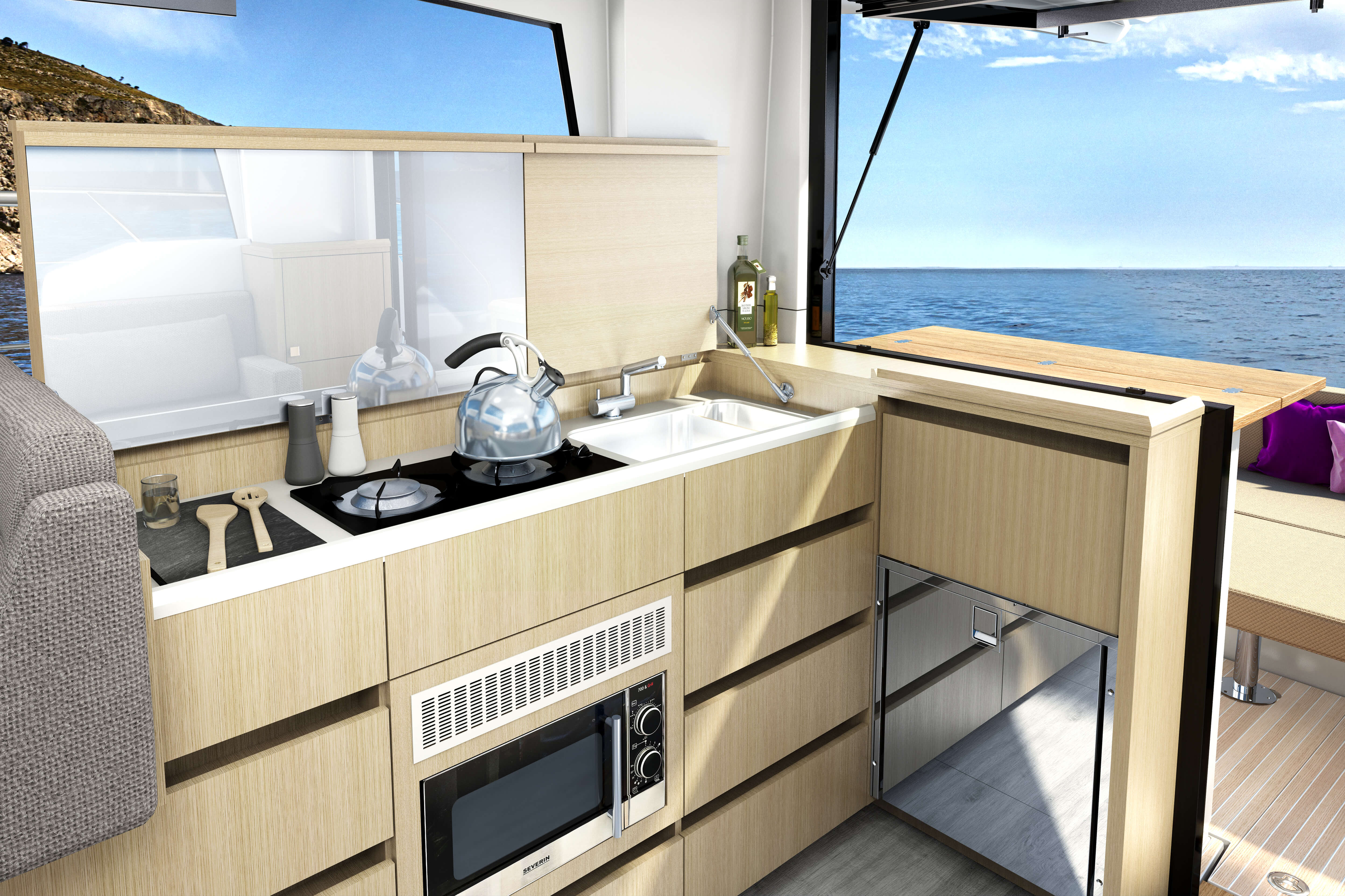 Sealine C335 galley | Open the tilting window above the L-shaped galley to create a bar opening towards the cockpit. | Sealine