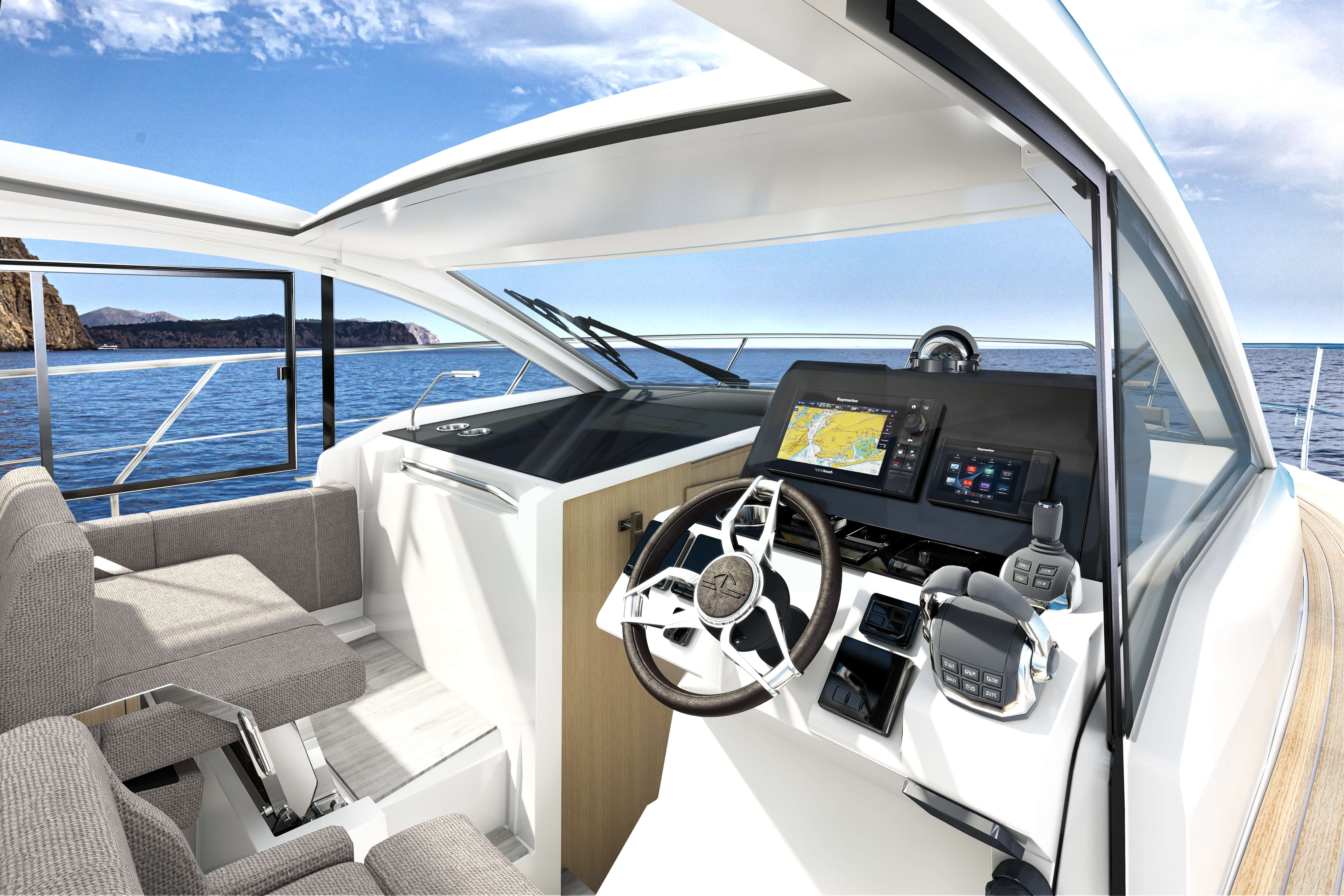 Sealine C335 helm | The helm position provides you with 360 degree visibility thanks the the large windscreen and side windows. | Sealine