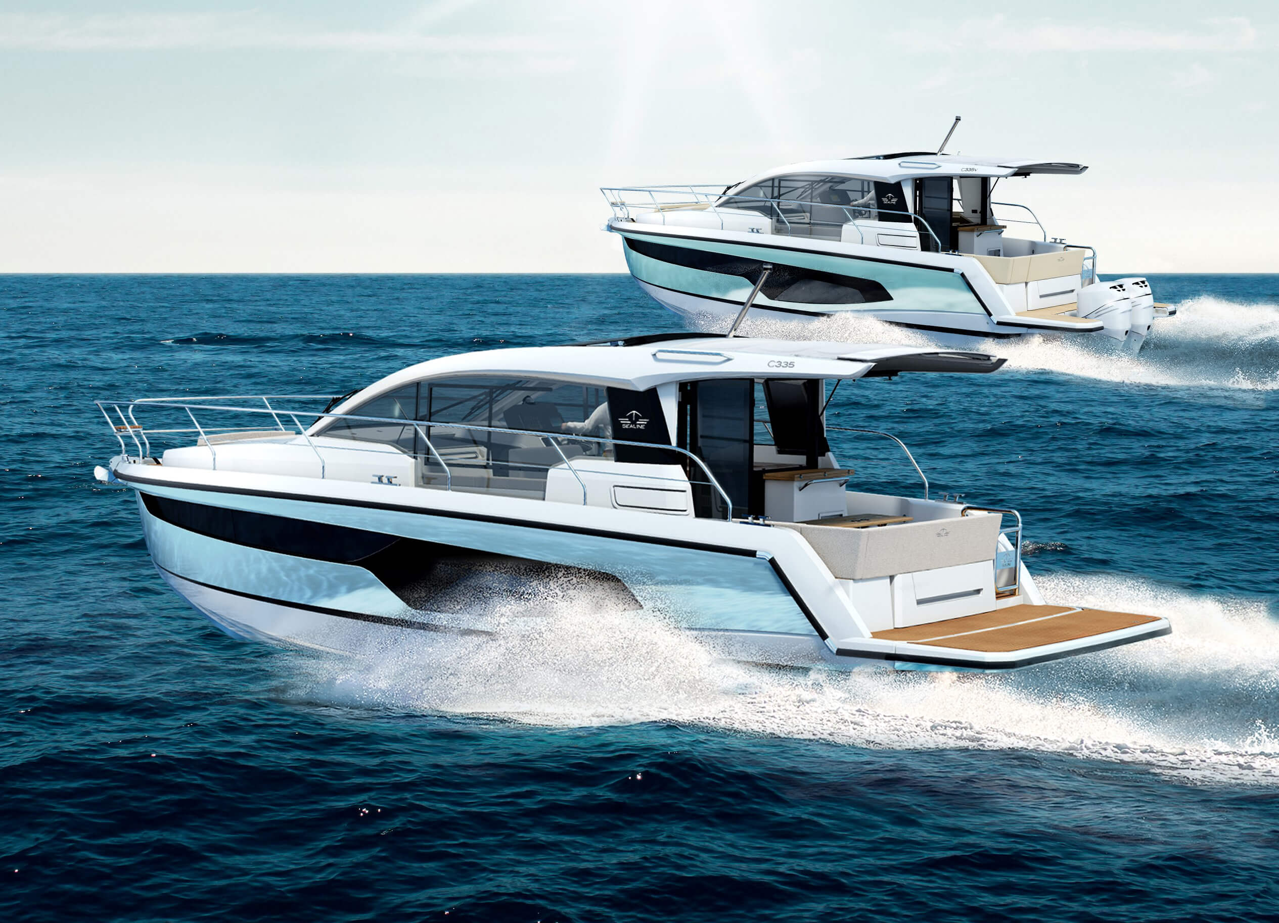 Sealine C335 and Sealine C335v exterior | From the hull shape to the engine, we have pulled out all the stops to ensure you will experience exhilarating moments at sea. | Sealine