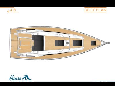 Hanse 418 План палубы цветной