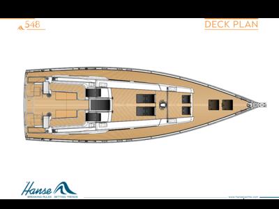 Hanse 548 甲板计划彩色