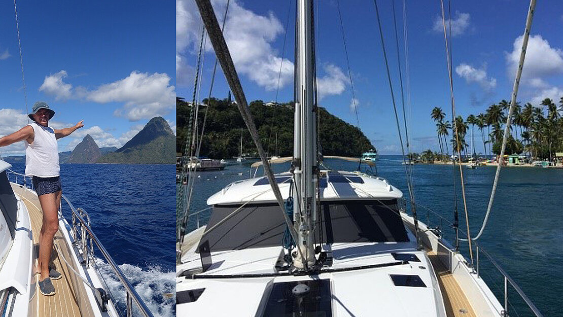 Owner of moody sailing yacht on top of his liveaboard bluewater sailboat